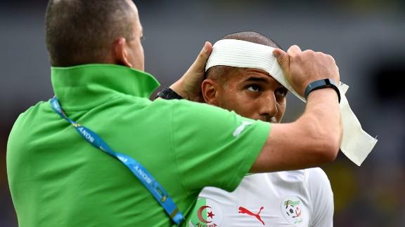 Sofiane Feghouli of Algeria receives a treatment.