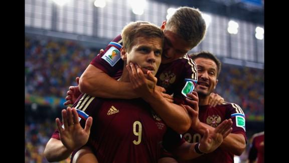Kokorin celebrates scoring his team