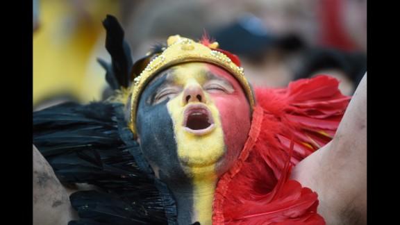 A Belgian fan reacts before a match between South Korea and Belgium.