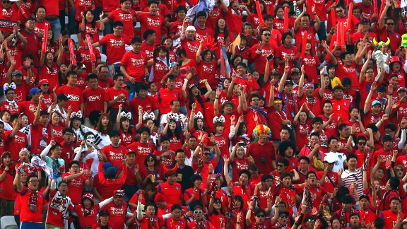 South Korea fans cheer.