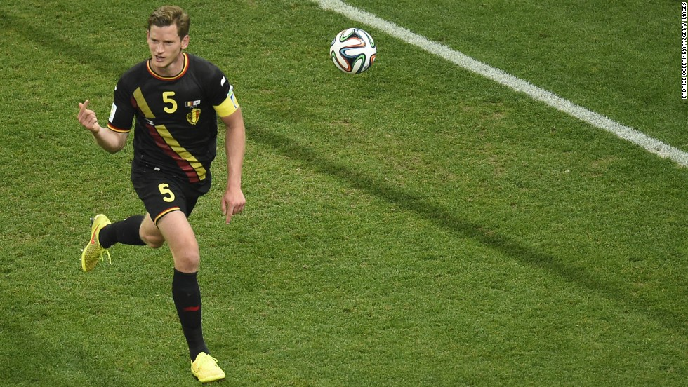 Belgium defender Jan Vertonghen celebrates after scoring during a World Cup match against South Korea on Thursday, June 26, at the Corinthians Arena in Sao Paulo.