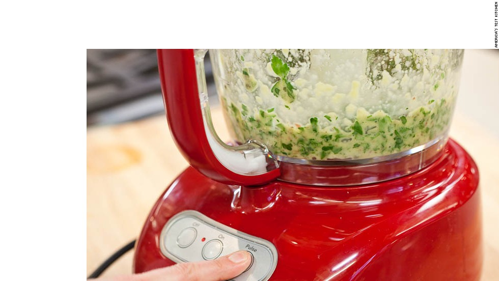 Pulse until mixture is finely chopped (mixture should not be smooth), about five 1-second pulses.