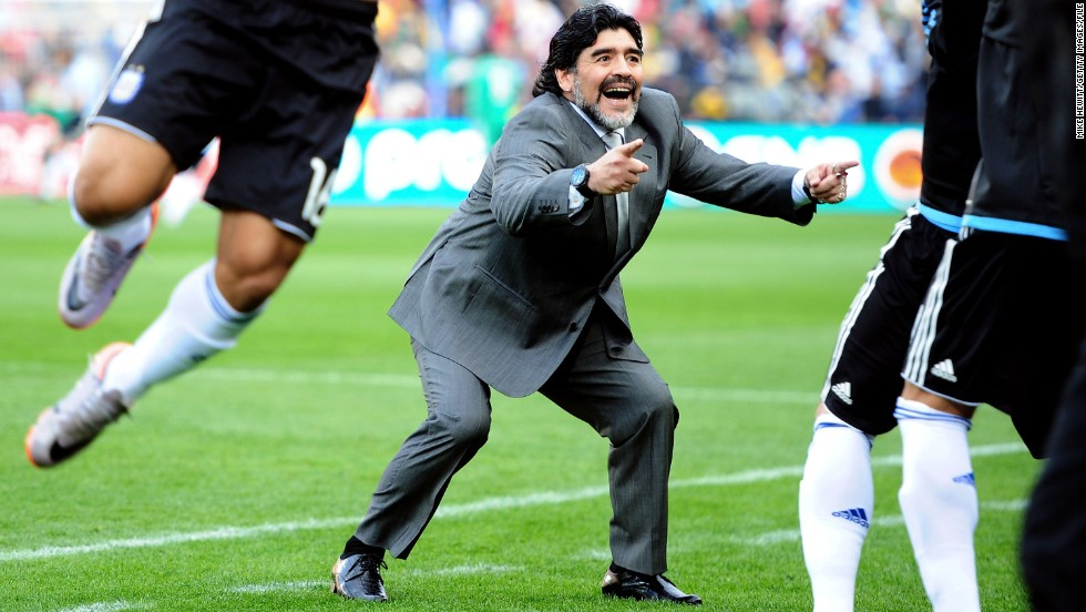 Maradona coached Argentina in the 2010 World Cup finals, but the South Americans were dumped out in the quarterfinals after a 4-0 defeat by Germany.