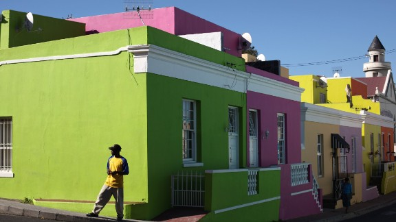 """""""We live in the technology age where people expect to exchange information instantly,"""" says Ebrahim about his reasoning for creating a tour where visitors can go online while being driven to the next destination. Seen here is the Bo Kaap district of Cape Town, famous for its colorful houses."""