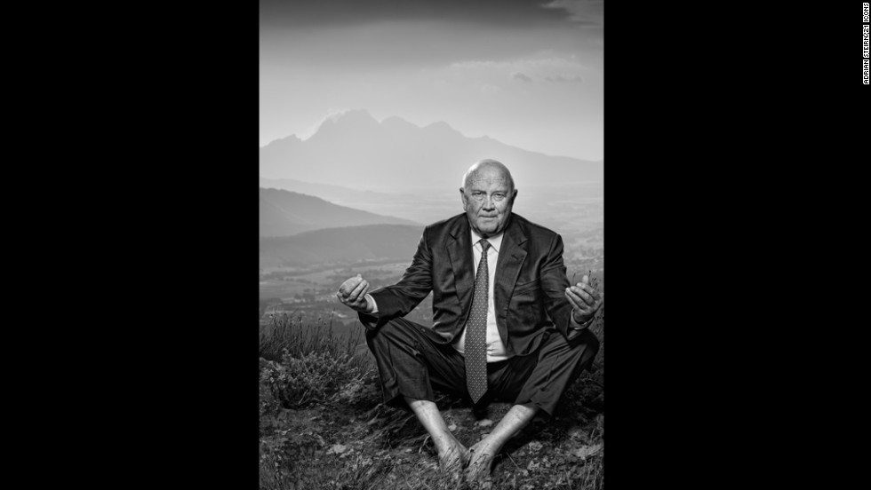 "<strong>F.W. de Klerk</strong><br /><br />He was South Africa's last white leader. A poignant reminder of a decisive turning point in the nation's history, <a href=""http://amanpour.blogs.cnn.com/2013/12/05/f-w-de-klerk-talks-about-mandelas-passing/"" target=""_blank"">de Klerk would go on to be awarded a Nobel Peace Prize</a>, sharing it with Nelson Mandela, for his efforts to end apartheid. Steirn explains that while his legacy remains polarizing, it was important for him to be featured in the 21 ICONS project. <br /><br />""To the rest of the world, there was this public pressure on him and that time was just a representation of Apartheid government. To an English-speaking South African, he was 'where do we stand now?' To the black population, the colored population and the marginalized population: 'he oppressed us.' He was a man alone.<br /><br />""He was an isolated man. What he did for his country -- he was not comfortable doing it, which is why I loved the pose. The lotus pose of peace and you can see he's not entirely comfortable doing it. But again, this is a reflection of what he went through,"" interprets Steirn.<br /><br />He adds: ""We all know he was on top of an Apartheid government that had executed, that had killed people, and continued to do so to destabilize the country for a couple years. Mandela's genius was bringing together a country so divided. I wanted to show a portrait of a man that -- whatever you think of that man personally -- that part of his life was all about trying to do the right thing for South Africa."""