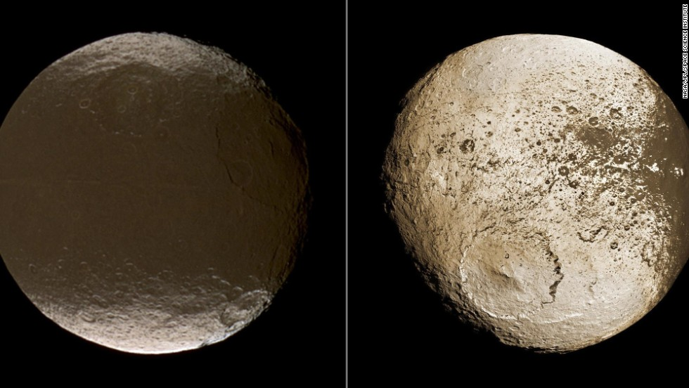 9. Mystery of the dual bright-dark surface of the moon Iapetus solved.  The origin of Iapetus' two-faced surface has been a mystery for more than 300 years. The Cassini spacecraft solved the puzzle, showing that dark, reddish dust in Iapetus' orbital path is swept up and lands on the leading face of the moon.