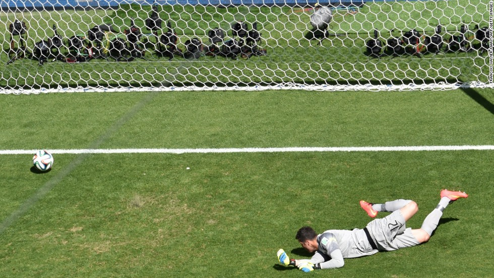 Brazil's goalkeeper, Julio Cesar, concedes a goal to Alexis Sanchez during a World Cup game against Chile in Belo Horizonte, Brazil, on June 28. The first game of the elimination round ended with a score of 1-1. Brazil advanced to the quarterfinals by winning a penalty kick shootout.