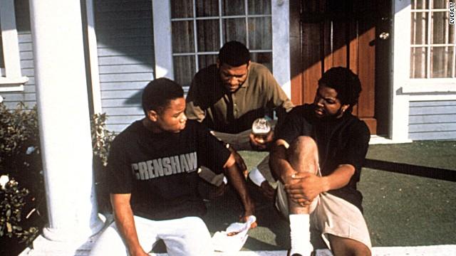 Cuba Gooding Jr., Laurence Fishburne and Ice Cube in 'Boyz n theHood'