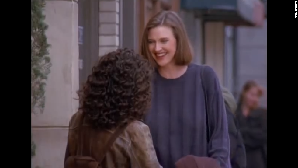 "Brenda Strong appears in several episodes throughout the series as Elaine's archnemesis since high school. Strong plays Sue Ellen Mischke, who never wears a bra. Elaine is so obsessed that Sue Ellen doesn't wear a bra that she gives her one as a gift, which Sue Ellen then wears down the street as a shirt, which causes Kramer to crash Jerry's car because they're so distracted watching her. Seven years later, Strong played the character that drove the entire plot line of ""Desperate Housewives,"" Mary Alice Young."