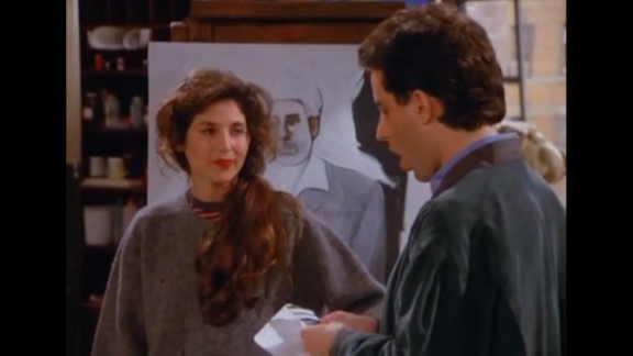 """Catherine Keener plays Jerry's new girlfriend Nina for an episode in season 3. Nina is an artist who paints Kramer as """"a loathsome, offensive brute,"""" and yet you cannot look away. Nina's father then offers the crew Yankee tickets in the owner's box. But things unravel for the couple at the game when Elaine is ejected from the seats for refusing to remove her Baltimore Orioles cap. Keener has appeared in multiple roles since, although her most famous part may be as Trish Piedmont in """"The 40 Year Old Virgin."""""""
