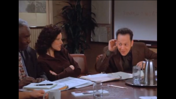 """Rob Schneider plays Elaine's partially deaf colleague Bob who claims he can't hear whenever he's asked to do work. Elaine pretends to proclaim her love for Bob in the office to see if he can hear it. Elaine's boss overhears and gets the two of them tickets to a show. Bob then throws himself at Elaine. Schneider has gained success in film roles such as """"Deuce Bigalow,"""" """"The Hot Chick"""" and """"Grown Ups."""""""
