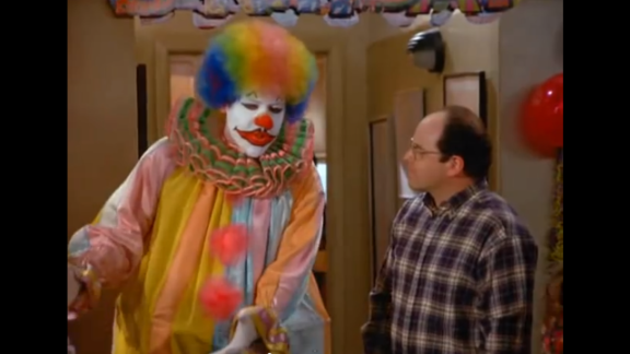 """Jon Favreau might be a surprise to some because he appeared on season five in full face makeup as Eric the Clown. Eric is hired to entertain at George's girlfriend's son's party. George and Eric get into a fight because George keeps pestering him. But when there is a fire in the apartment and George storms out in terror, Eric is  the hero of the day. Favreau is best known for directing movies like """"Elf"""", executive producing """"Iron Man 3"""" and acting in movies such as """"The Break-Up."""" He wrote and directed the recent movie """"Chef."""""""