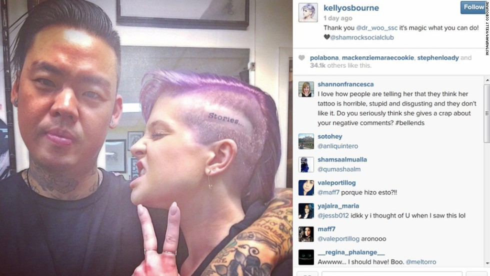 "The only reaction we have to Kelly Osbourne's tattoo is ""ouch."" The E! personality revealed her ink online in June 2014, thanking her tattoo artist for inscribing the word ""stories"" on the side of her head. ""Sorry mum and dad,"" <a href=""https://twitter.com/KellyOsbourne/status/483135551608872960"" target=""_blank"">she shared on Twitter</a>, ""but I love it!"""