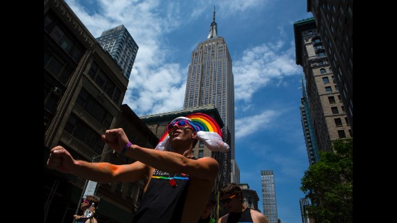 People march down Fifth Avenue during the New York City Gay Pride Parade on Sunday, June 29.