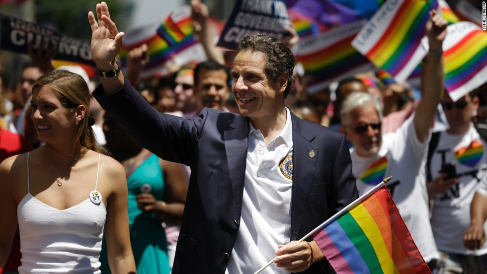 New York Gov. Andrew Cuomo marches in the parade.