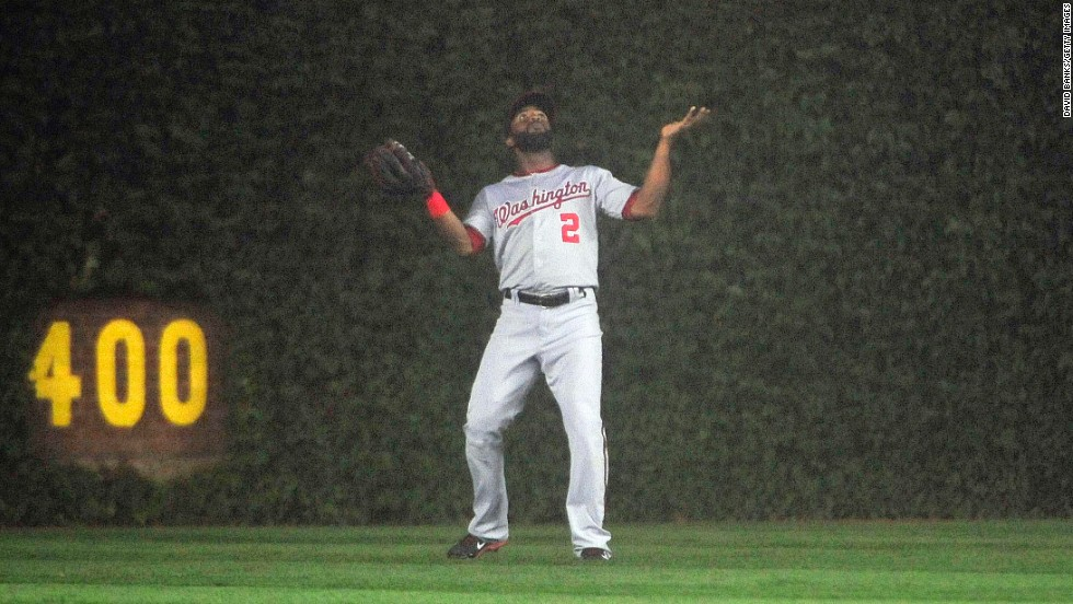 Washington Nationals outfielder Denard Span loses the ball in the fog while playing at Chicago's Wrigley Field on Thursday, June 26. Wrigley Field is about a mile from Lake Michigan.