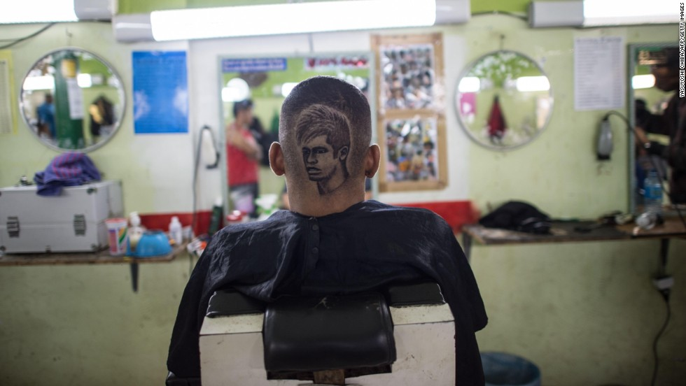 A man in Rio de Janeiro has a haircut of Brazilian soccer star Neymar on Friday, June 27. The haircut was made by Brazilian barber Marcelo Anderson Martins Ferreira.