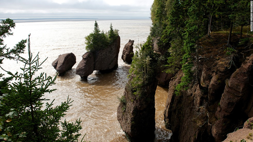 Canada's Bay of Fundy in the Atlantic Ocean is home to the highest tides in the world. As a result, New Brunswick's incredible, eroded <a href=