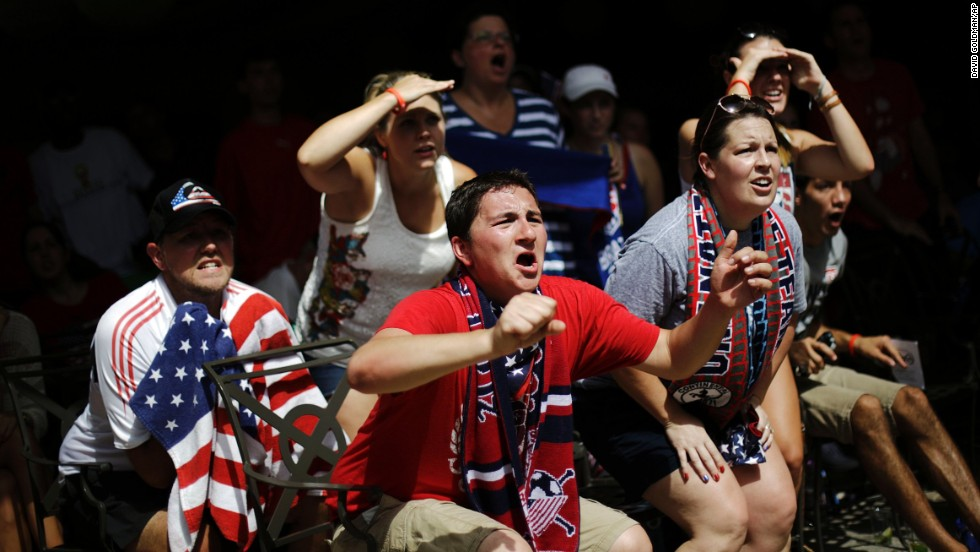 U.S. fans in Atlanta watch the Belgium match.