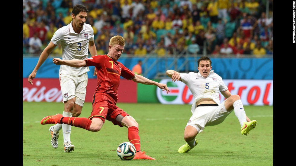 Belgian midfielder Kevin De Bruyne scores the first goal of the match.