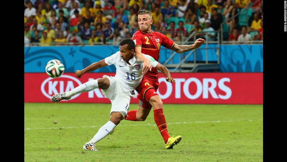 Julian Green of the United States scores a goal against Belgium during extra time of a World Cup round-of-16 match Tuesday, July 1, in Salvador, Brazil. Belgium won the match 2-1, however, to advance to the quarterfinals of the soccer tournament.