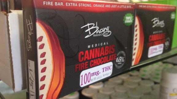 This chocolate bar has 100 mg THC. 10 doses of marijuana.