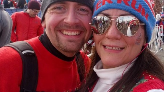 """Rob and Jess ran the """"Ugly Sweater Run"""" again in December 2013. Rob improved on the previous year's results by nearly 14 minutes. He was down by 140 pounds at that point."""