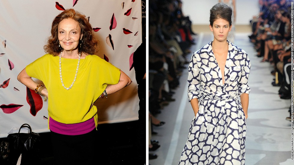 Belgian-born American designer Diane Von Furstenberg (left) is perhaps best known for her wrap dress, first launched in the 1970s. Celebrated for its democratic fit, accommodating almost any age or size, the wrap dress is still widely worn by women today, and various versions appear in the exhibition.