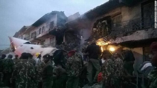 A cargo plane crashed into a commercial building shortly after takeoff from an airport in Nairobi, Kenya, the country's airport authority said.