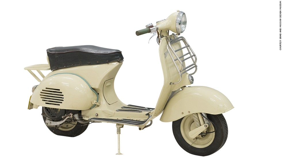 "<strong>""Vyatka"" Scooter, produced from 1957 to 1966</strong><br /><br />Many early products were strikingly similar to Western designs, like this scooter that bears a striking similarity to the Italian Vespa.<br /><br />In the push for consumer goods, ""[designers] didn't have the time to come up with new ideas,"" said Chiriac, so they traveled to the West and borrowed them.<br /><br />""It didn't really take off because it was too cold most of the time for people to use them, so it was a good example of a Western idea implemented without thinking of the local specifics."""