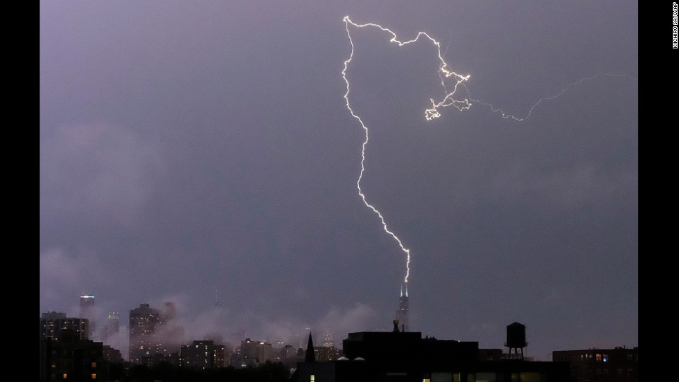 "A lightning bolt strikes near the top of the Willis Tower in downtown Chicago on Monday, June 30. <a href=""http://www.cnn.com/2014/06/27/world/gallery/week-in-photos-0626/index.html"">See last week in 33 photos</a>"