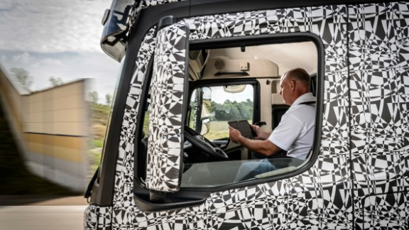 In the spacious cab, the driver will be able to turn away from the wheel, gas and brakes.