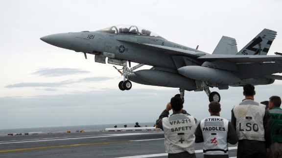 An F/A-18 Hornet is pictured aboard the USS George H.W. Bush on May 19, 2009. The F/A-18 Hornet, a late-