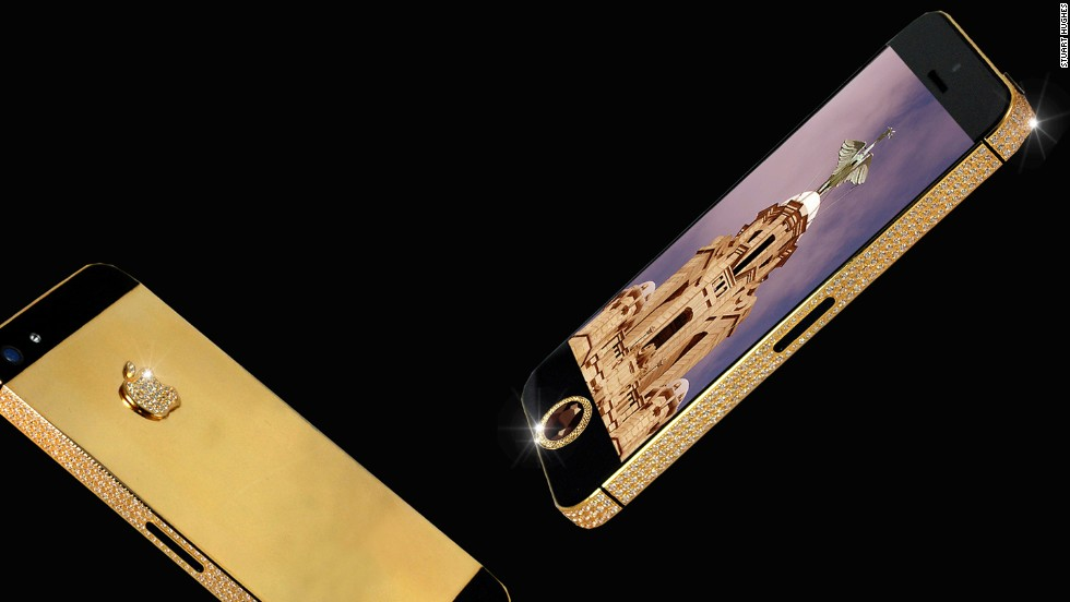"The world's most expensive iPhone, customized by luxury designer <a href=""http://stuarthughes.com/newdawn/product_info.php?products_id=116"" target=""_blank"">Stuart Hughes</a>, is made out of 24-karat gold and encrusted with 600 flawless diamonds. For less than $17 million, the iPhone 5 Black Diamond can be yours."