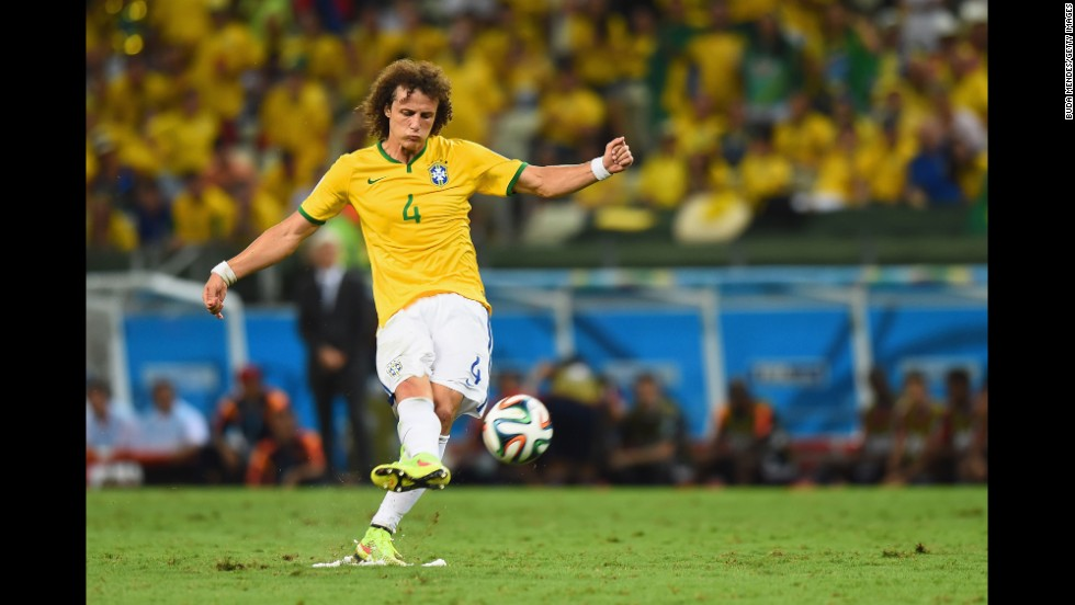 David Luiz gave Brazil a 2-0 lead with a stunning long-range free kick in the second half.