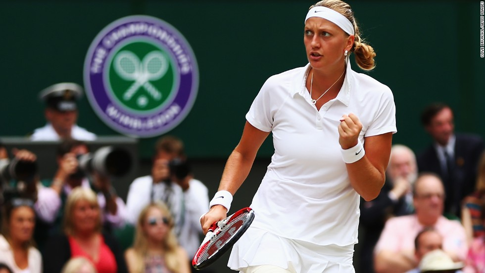 As the first set ended, so the second set continued -- another early break set Kvitova on her way.