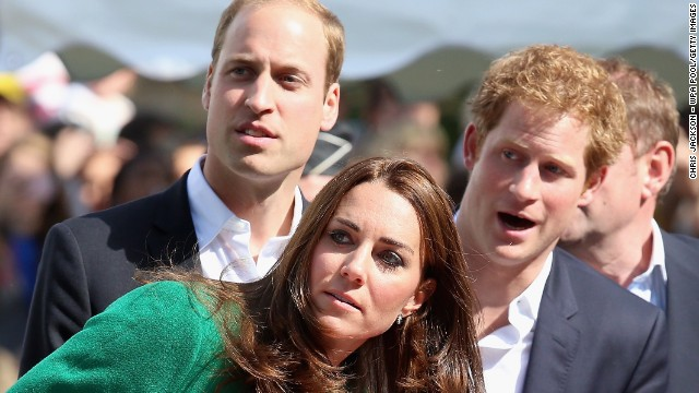 Catherine, Duchess of Cambridge, Prince William, Duke of Cambridge and Prince Harry watch as Mark Cavendish falls from his bike near the finish line of Stage 1 of the Tour De France on July 5, 2014 in Harrogate, United Kingdom. Spectators and residents prepare themselves and gather on the streets as they get ready to watch Stage 1 of the Tour de France on July 5, 2014 in Harrogate, United Kingdom. The world's greatest cycle race, the Tour de France starts for the first time in its history in Yorkshire this weekend. The event is expected to bring thousands of cycling fans to the region . (Photo by Chris Jackson - WPA Pool/Getty Images