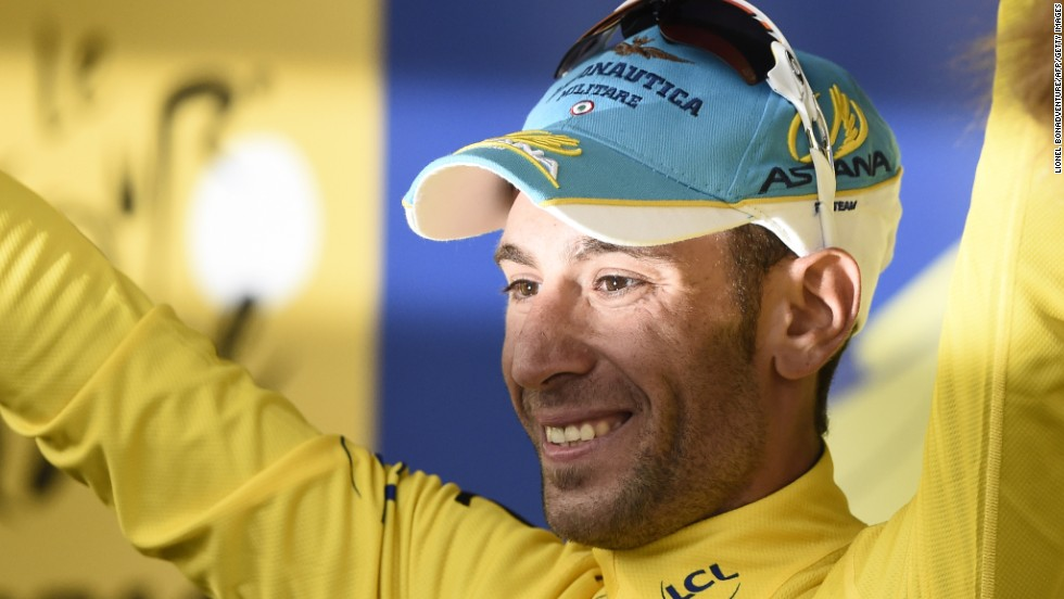 Nibali took the lead in the 2014 Tour de France after winning the second stage in Sheffield, England.