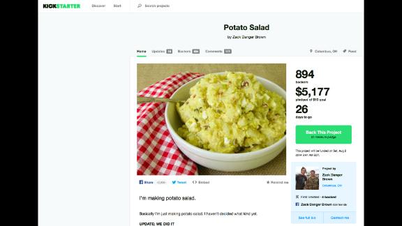 Zack Brown's potato salad Kickstarter campaign succeeded beyond his wildest dreams.