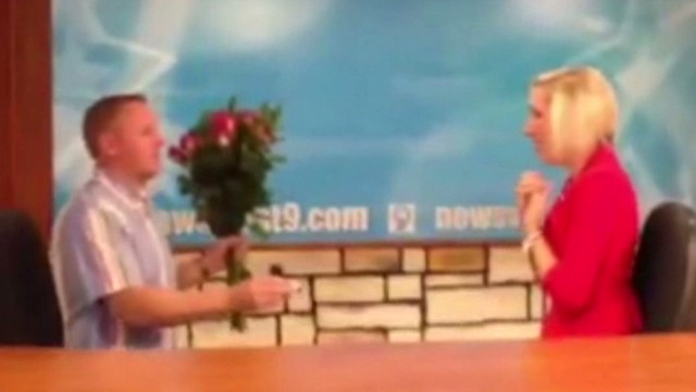 See TV anchor read own wedding proposal