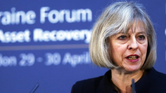 Britain's Home Secretary Theresa May speaks during the opening of the Ukraine Forum on Asset Recovery at Lancaster House in central London on April 29, 2014. The United States and Britain said they were determined to track down billions of dollars of Ukranian assets allegedly looted under the regime of deposed president Viktor Yanukovych. AFP PHOTO/POOL/ANDREW WINNINGANDREW WINNING/AFP/Getty Images