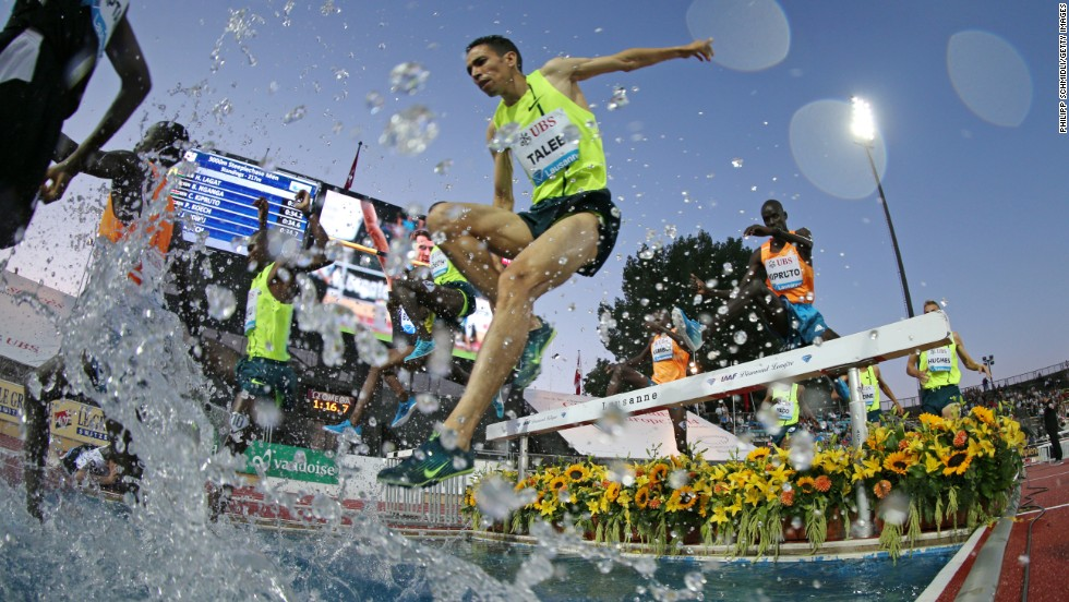 Brahim Taleb of Morocco competes in the 3,000-meter steeplechase Thursday, July 3, at the IAAF Diamond League event in Lausanne, Switzerland. He finished 11th in the race, which was won by Kenya's Jairus Kipchoge Birech.