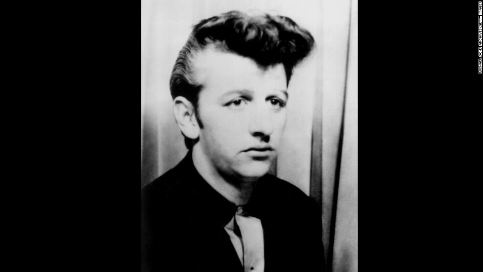 Drummer Ringo Starr's unique fashion sense has long been a part of his appeal to 'Beatles' fans. In this 1959 portrait, Ringo shows off a classic rock 'n roll pompadour hairstyle. At the time, he played drums for 'Rory Storm and the Hurricanes' before joining the Beatles later that year in Liverpool, England.