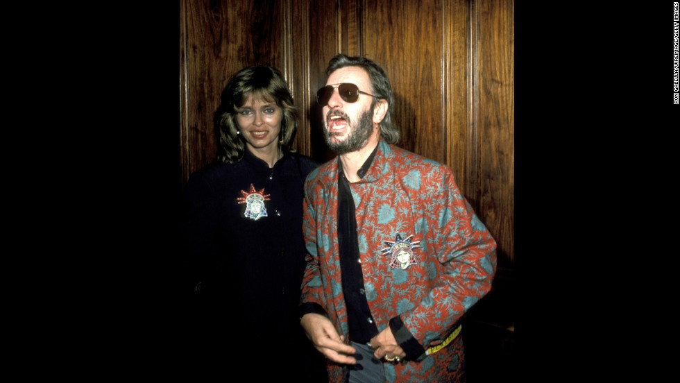 Barbara Bach and Ringo Starr at Regency Hotel in New York City in 1986.