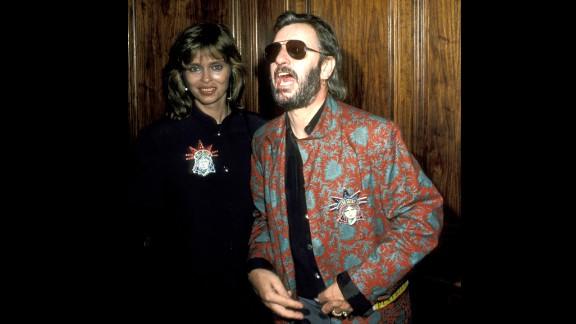 Barbara Bach and Ringo Starr at Regency Hotel in New York City in 1986.