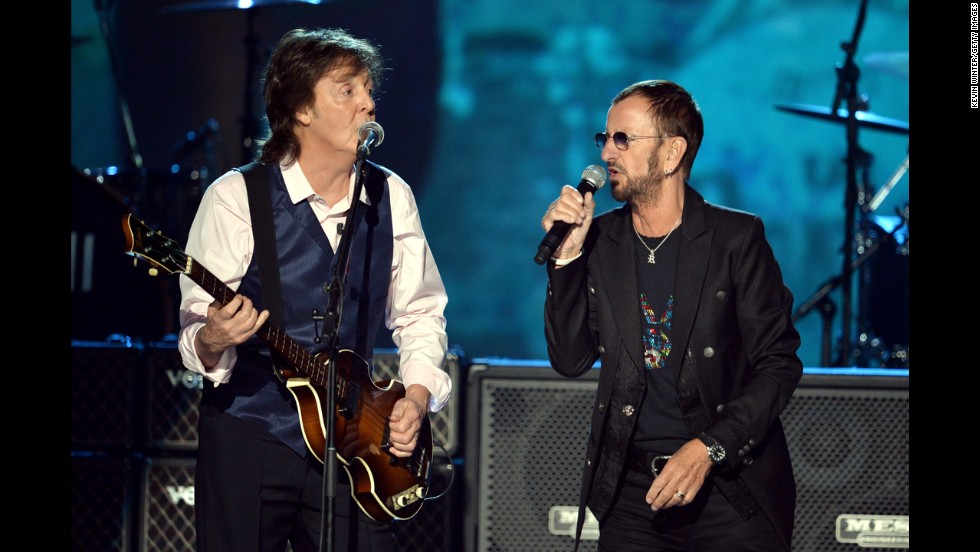 "Recording artists Paul McCartney, left, and Ringo Starr perform onstage during ""The Night That Changed America: A GRAMMY Salute To The Beatles"" at the Los Angeles Convention Center on January 27."