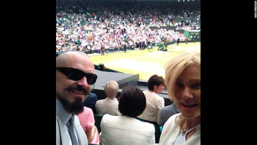 "Actor Hugh Jackman and his wife, Deborra-Lee, <a href=""http://instagram.com/p/qHGjYMChMH/"" target=""_blank"">watched the Wimbledon final</a> between Novak Djokovic and Roger Federer on Sunday, July 6. ""Just took our seats @Wimbledon. Amazing moment,"" he wrote on Instagram."