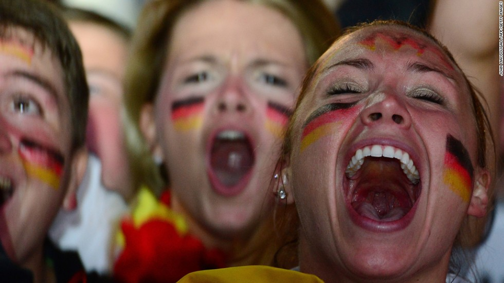 Germany fans in Berlin celebrate their team's seventh goal.