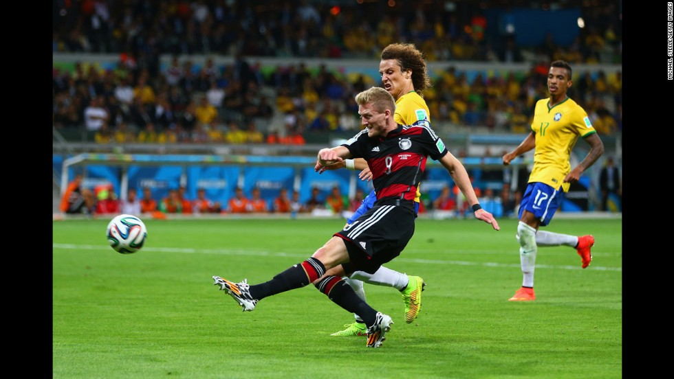 Andre Schuerrle scores Germany's seventh goal. It was his second of the game.