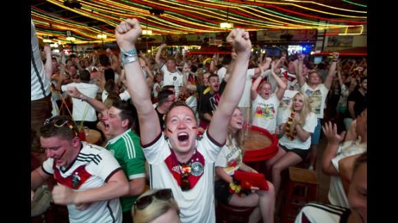 Germany fans celebrate a goal in Palma de Mallorca, Spain.